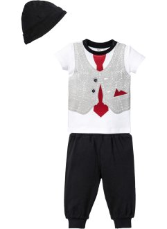 T-shirt + pantalone in maglina + berretto (set 3 pezzi) in cotone biologico, bpc bonprix collection