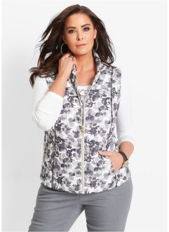 Gilet fantasia, bpc selection, Bianco / nero fantasia