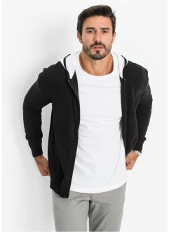 Cardigan con cappuccio, bpc bonprix collection, Nero / bianco