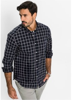 Camicia a quadri a manica lunga regular fit, bpc bonprix collection, Nero a quadri