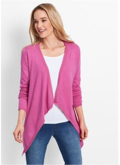 Cardigan asimmetrico, bpc bonprix collection, Fucsia chiaro