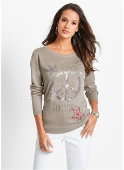 Pullover con paillettes, bpc selection, Pietra melange / stampato