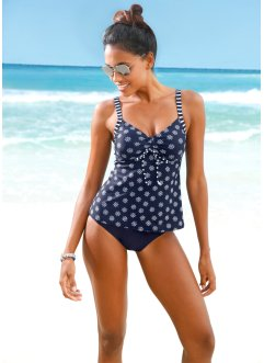 Tankini, bpc bonprix collection, Blu scuro / bianco