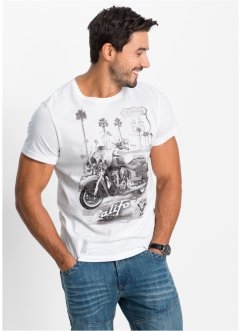 T-shirt stampata regular fit, John Baner JEANSWEAR, Bianco