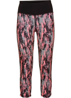 Leggings per lo sport 3/4, bpc bonprix collection, Salmone neon / grigio fantasia