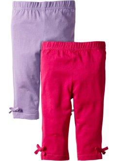 Leggings 3/4 (pacco da 2), bpc bonprix collection, Fucsia scuro + lilla