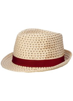 Cappello con nastro, bpc bonprix collection, Colore naturale / bordeaux