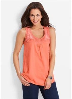 Top con pizzo, bpc bonprix collection, Salmone
