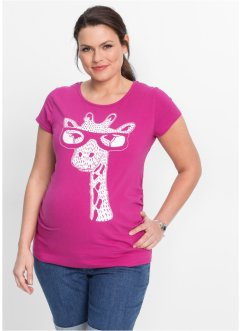 T-shirt prémaman con giraffa, bpc bonprix collection, Fucsia medio stampato