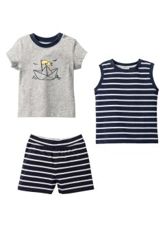 T-shirt + canotta + shorts (set 3 pezzi) in cotone biologico, bpc bonprix collection