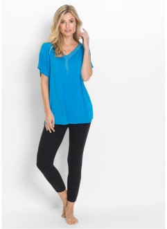 Pigiama con leggings 7/8, bpc selection, Blu Capri / nero