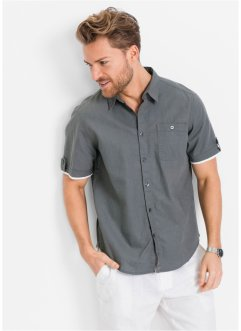 Camicia a manica corta in misto lino regular fit, bpc bonprix collection