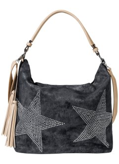 Borsa shopper in denim con stella di strass, bpc bonprix collection