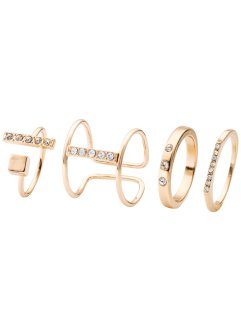 Anelli con strass (set 4 pezzi), bpc bonprix collection