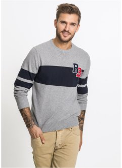 Pullover in cotone riciclato slim fit, RAINBOW