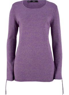 Pullover melange con maniche arricciate, bpc bonprix collection