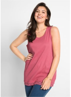 Top in cotone  a costine con pizzo, bpc bonprix collection