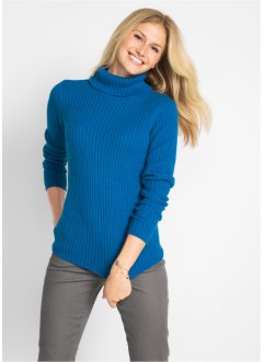 Pullover a coste con collo alto, bpc bonprix collection