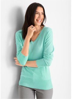 Maglione in filato fine con scollo a V, bpc bonprix collection
