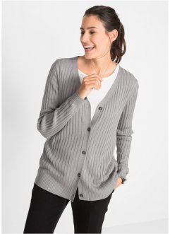 Cardigan a coste in viscosa, bpc bonprix collection