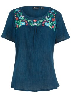 Blusa ricamata a manica corta, bpc bonprix collection