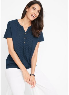 Blusa in maglina con pizzo Sangallo, bpc bonprix collection