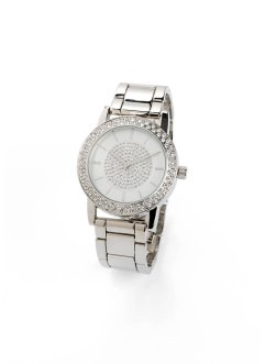 Orologio da polso in metallo con cristalli Swarovski®, bpc bonprix collection