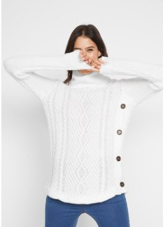 Maglione a collo alto con bottoni, bpc bonprix collection