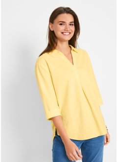 Blusa oversize in misto lino con colletto, bpc bonprix collection