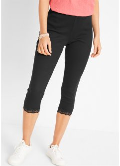 Leggings capri a costine con pizzo, bpc bonprix collection