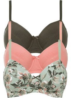 Reggiseno con ferretto (pacco da 3) in cotone biologico, bpc bonprix collection