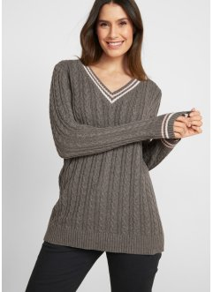 Maglione a trecce con scollo a V, bpc bonprix collection