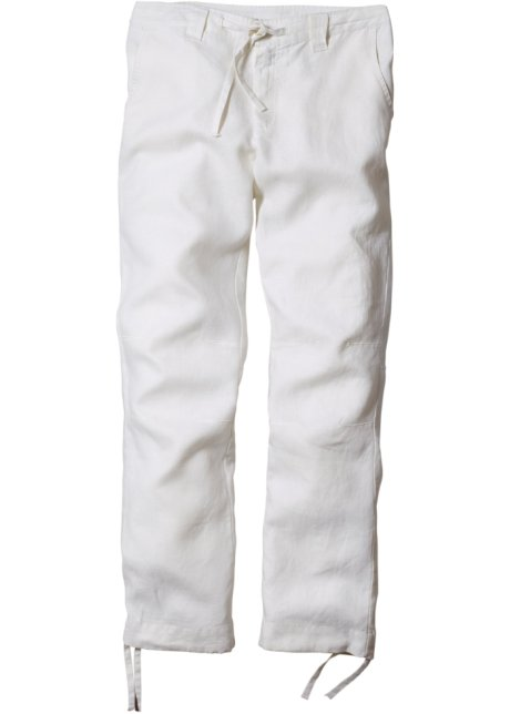 Conosciuto Pantalone di lino regular fit straight, T.N. Bianco - Uomo  TB04
