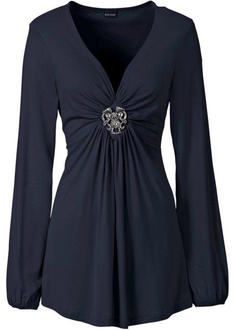 new styles 0a7ff 3f47f Elegante maglia con manica blusante e spilla decorativa allo scollo a V