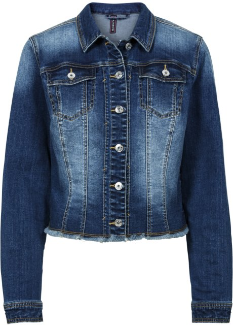 Donna bonprix Giacca di it stone usato Blu effetto jeans C7xqf4