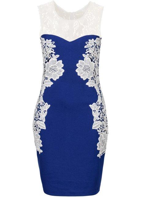 Elegante abito a tubino con inserti in pizzo a motivi floreali - Blu ... fc449c7449e