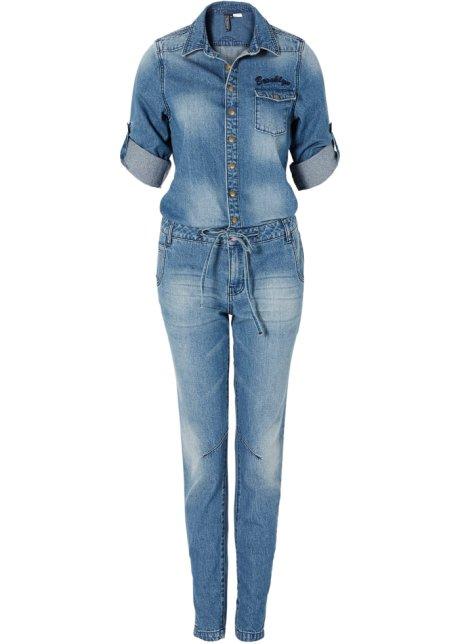 online retailer 68f9f 44b30 Inconsueta tuta in jeans con manica risvoltabile