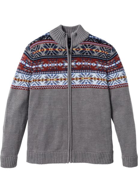 melange fit Cardigan stile Grigio fantasia in regular norvegese OzOPqYp6