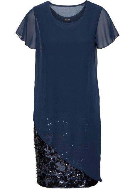 Abito elegante in jersey con paillettes Blu scuro - Donna - bonprix.it 3e7897a854e