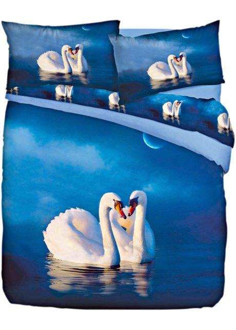 Copripiumino Matrimoniale Bonprix.Biancheria Letto Cigni Blu Crema Azzurro Stampato Euronova