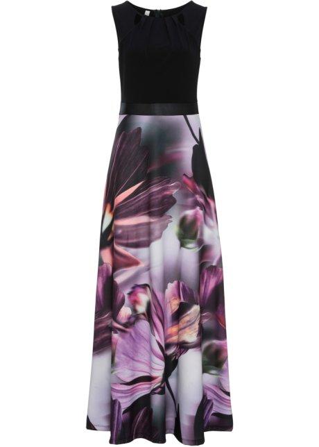 4ad81f34c431 Abito con stampa floreale Nero   viola a fiori - BODYFLIRT boutique ...