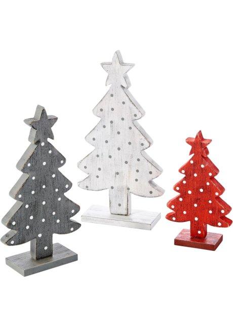 """decorazione in legno """"alberi di natale"""" (set 3 pezzi) bianco +"""