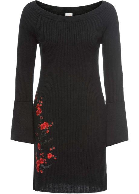 d24191d34270 Abito in maglia con ricamo Nero   rosso - BODYFLIRT boutique ordina ...