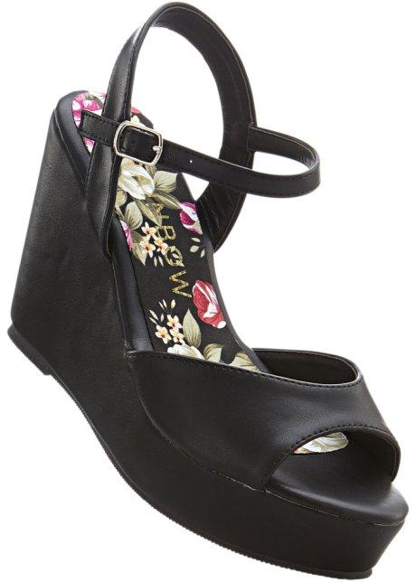 Sandalo in pelle con plateau (Nero) - RAINBOW Bonprix doF3kk