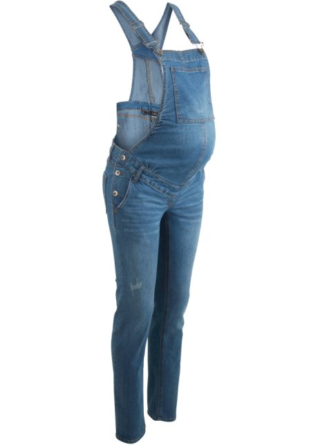 top fashion d0034 150af Salopette di jeans prémaman a gamba stretta
