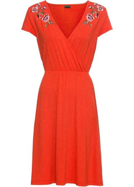 349798a5a2b5 Abito a portafoglio in jersey con pizzo Arancione scuro - Donna ...