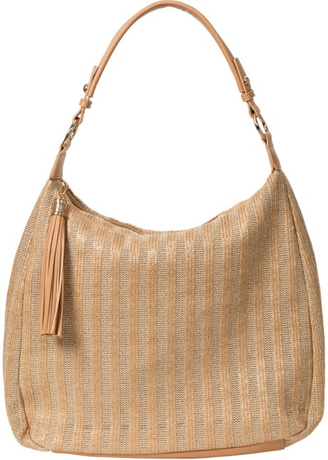 6279d196db Borsa in simil rafia con nappa Colore naturale / color oro - Donna ...