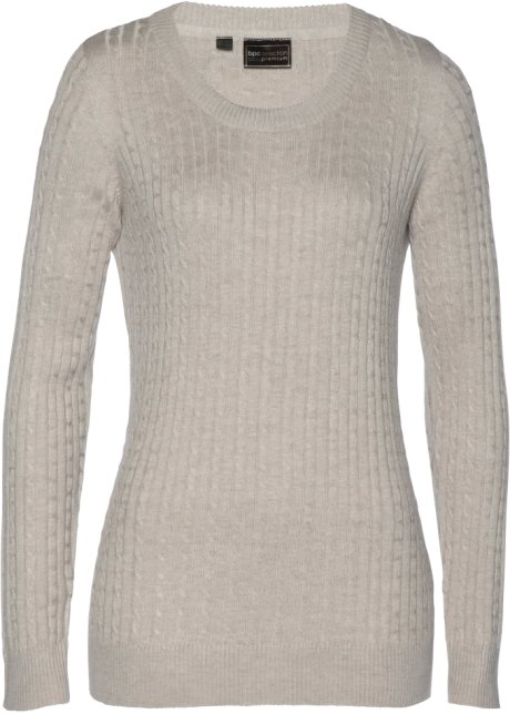 Cachemire Premium Bpc Pullover beige Con Selection Bonprix xqwFSR7