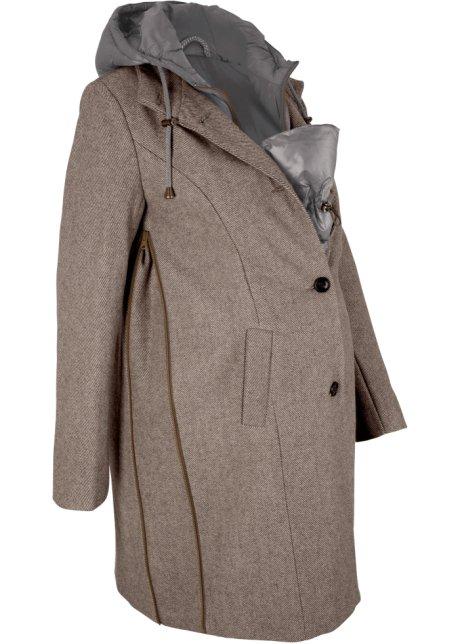 Cappotto prémaman in misto lana con porta bimbo 2 in 1