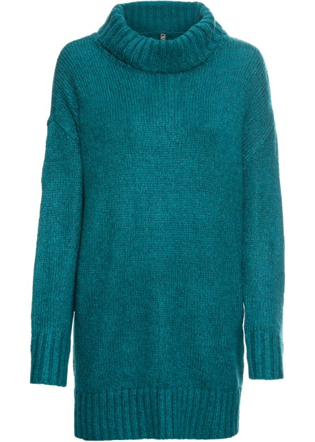 Melange Donna Nero Bonprix Pullover Collo Alto A it Turchese 6xpXYq